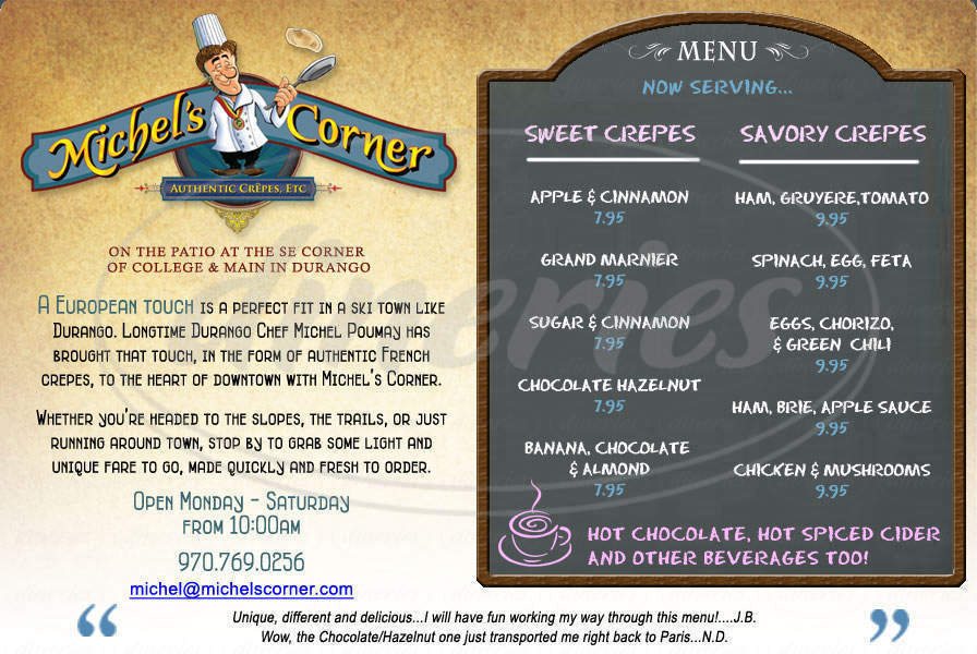 menu for Michel's Corner