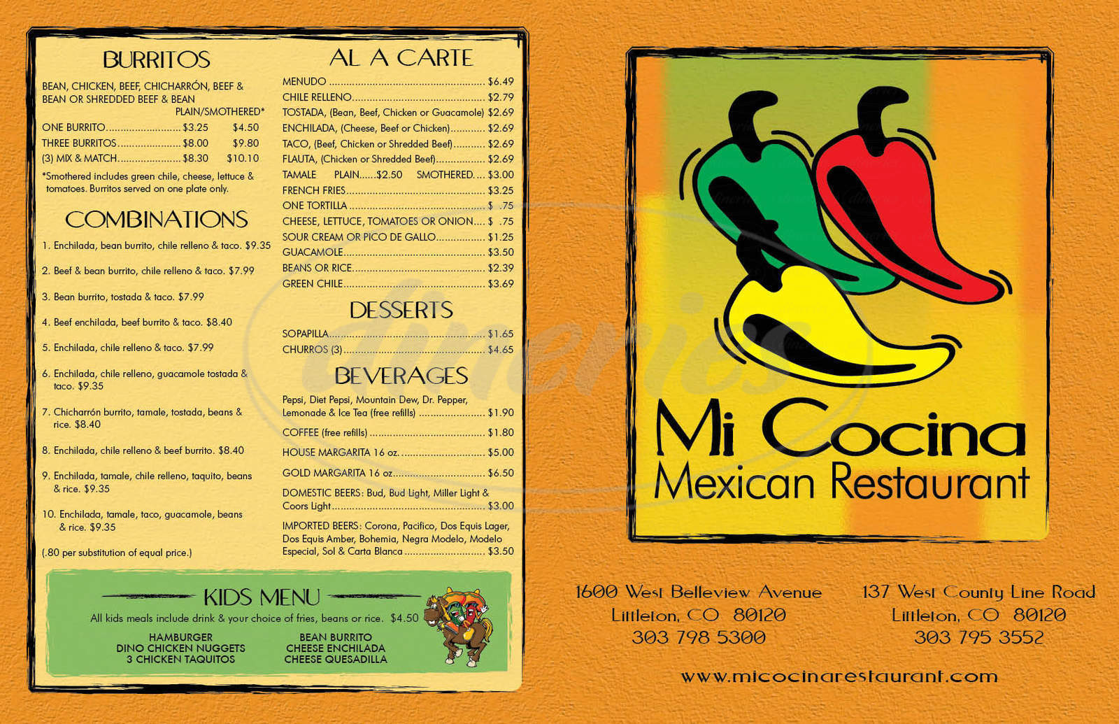 menu for Mi Cocina Express