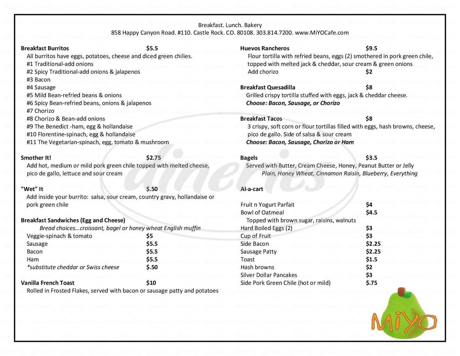 menu for Miyo Cafe