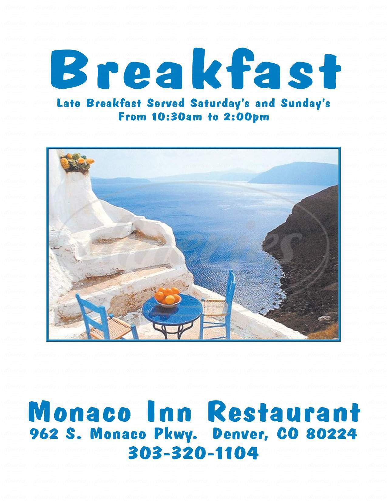 menu for Monaco Inn