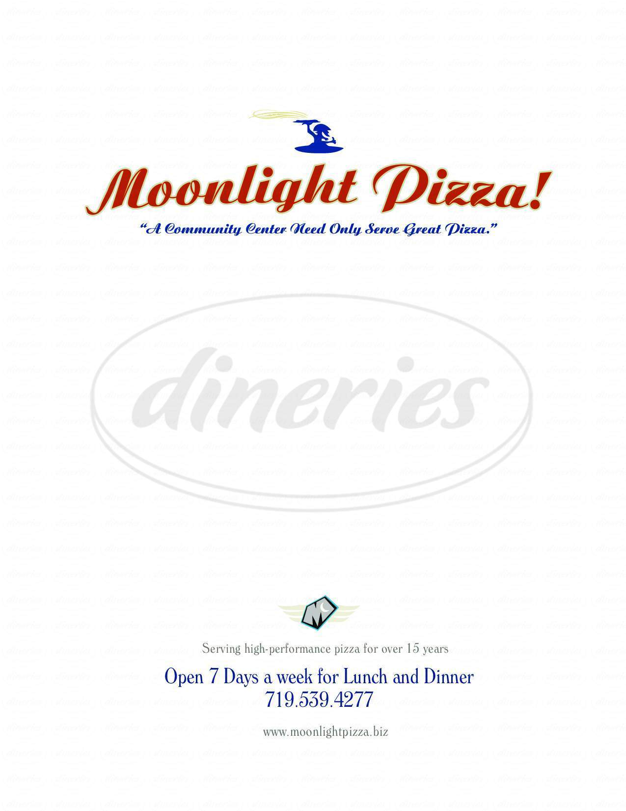 menu for Moonlight Pizza & Brew Pub