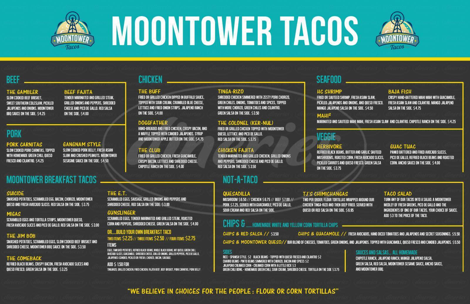 menu for Moontower Tacos