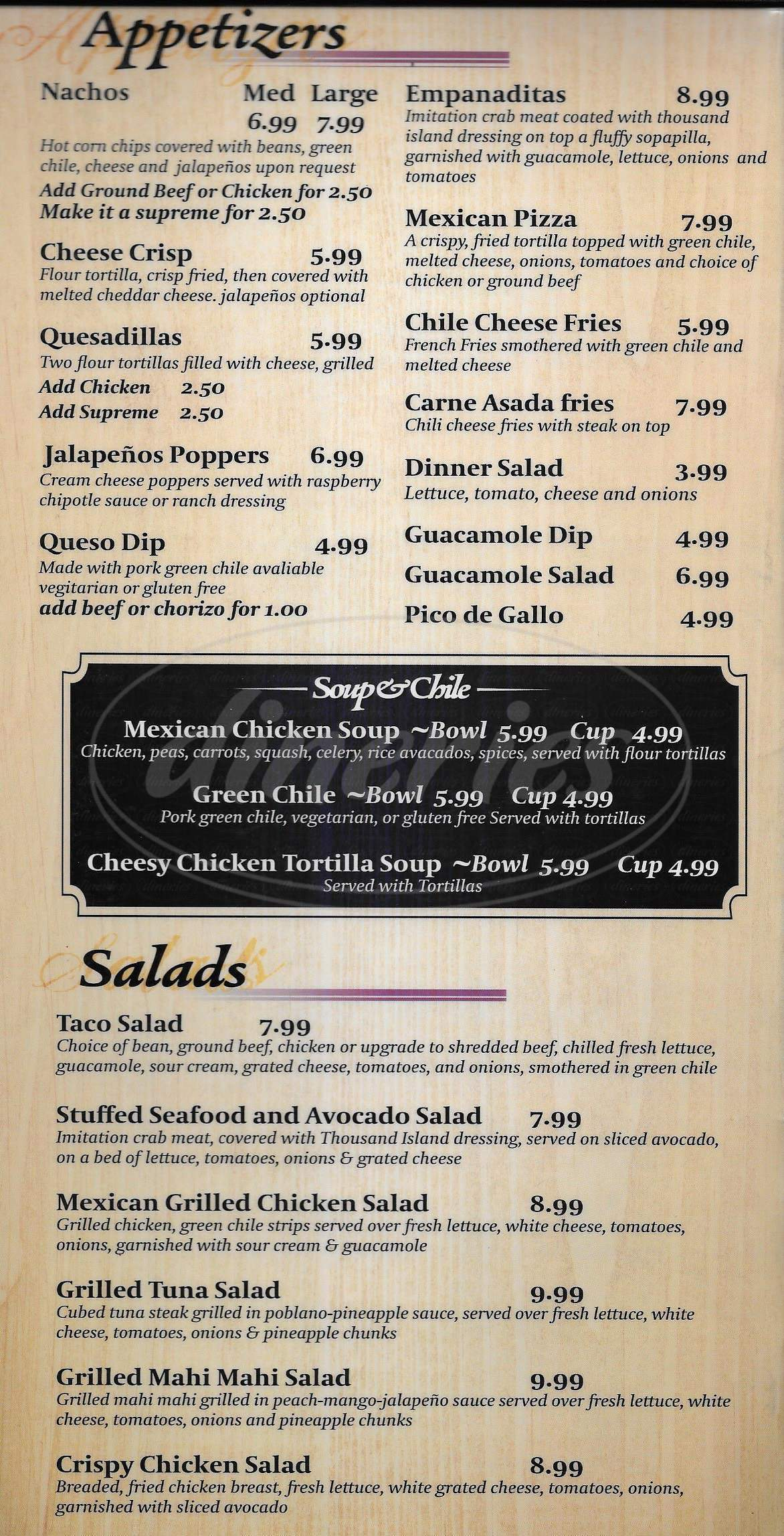 menu for Moose Hill Cantina