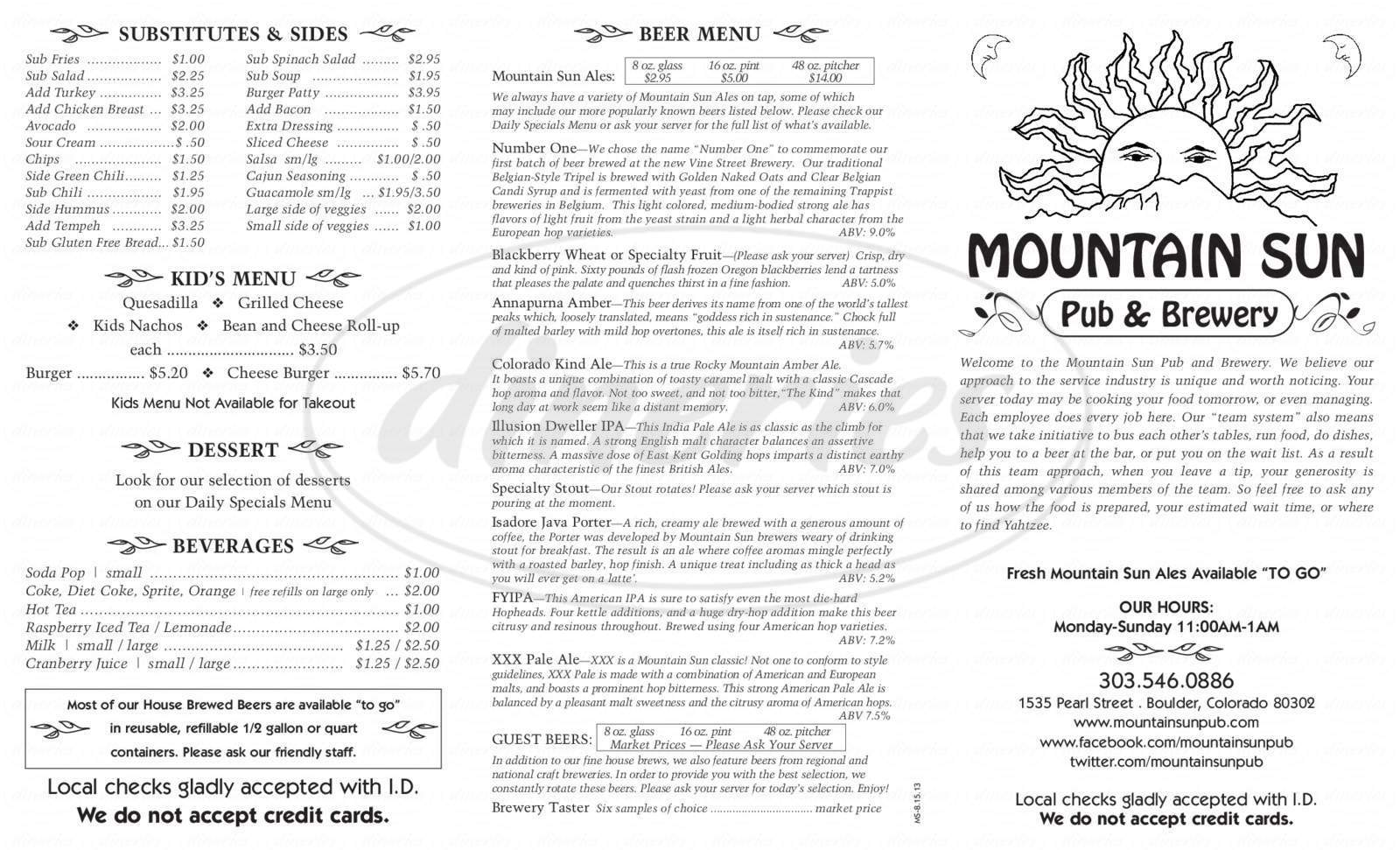 menu for Mountain Sun Pub & Brewery