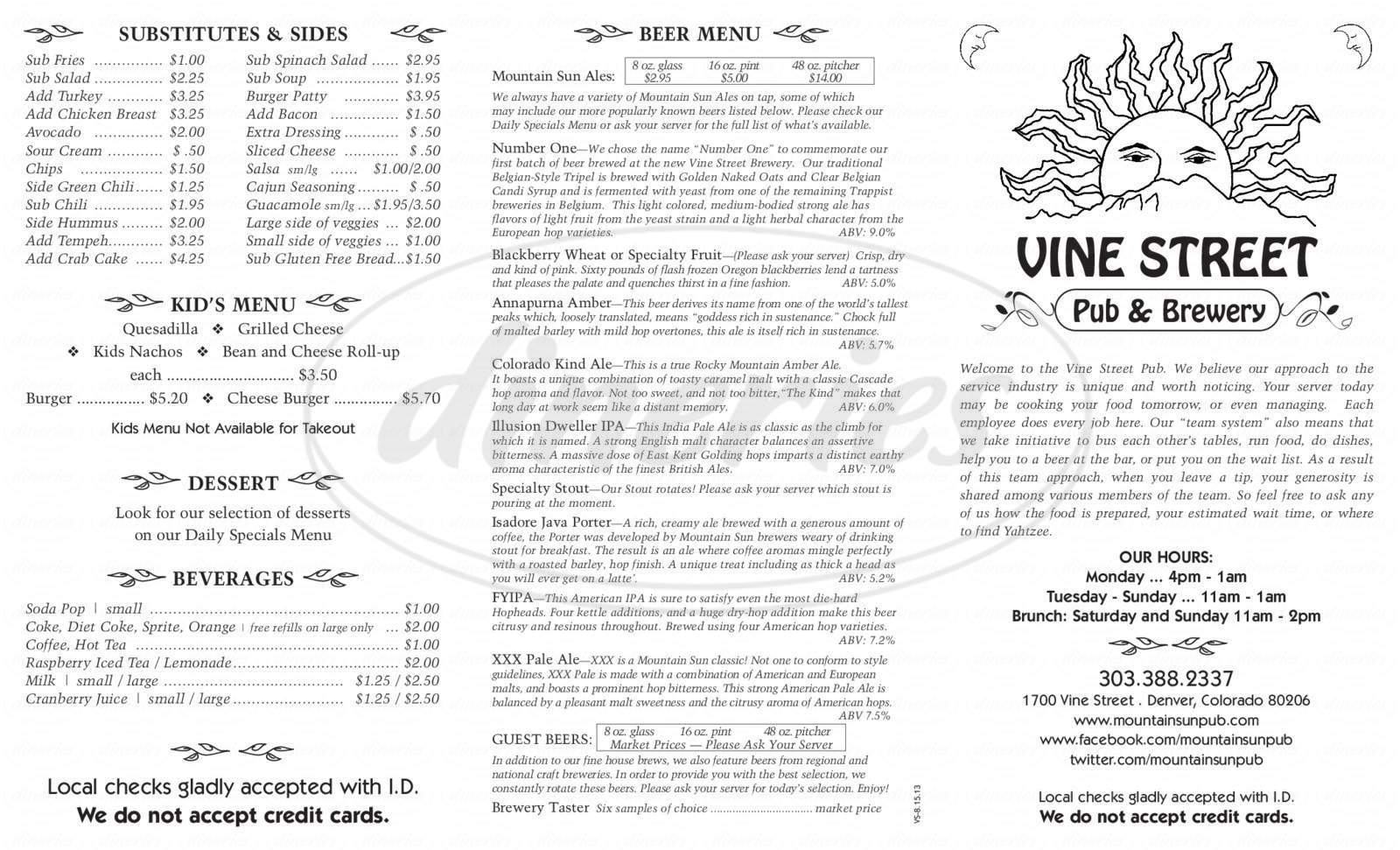 menu for Vine Street Pub & Brewery