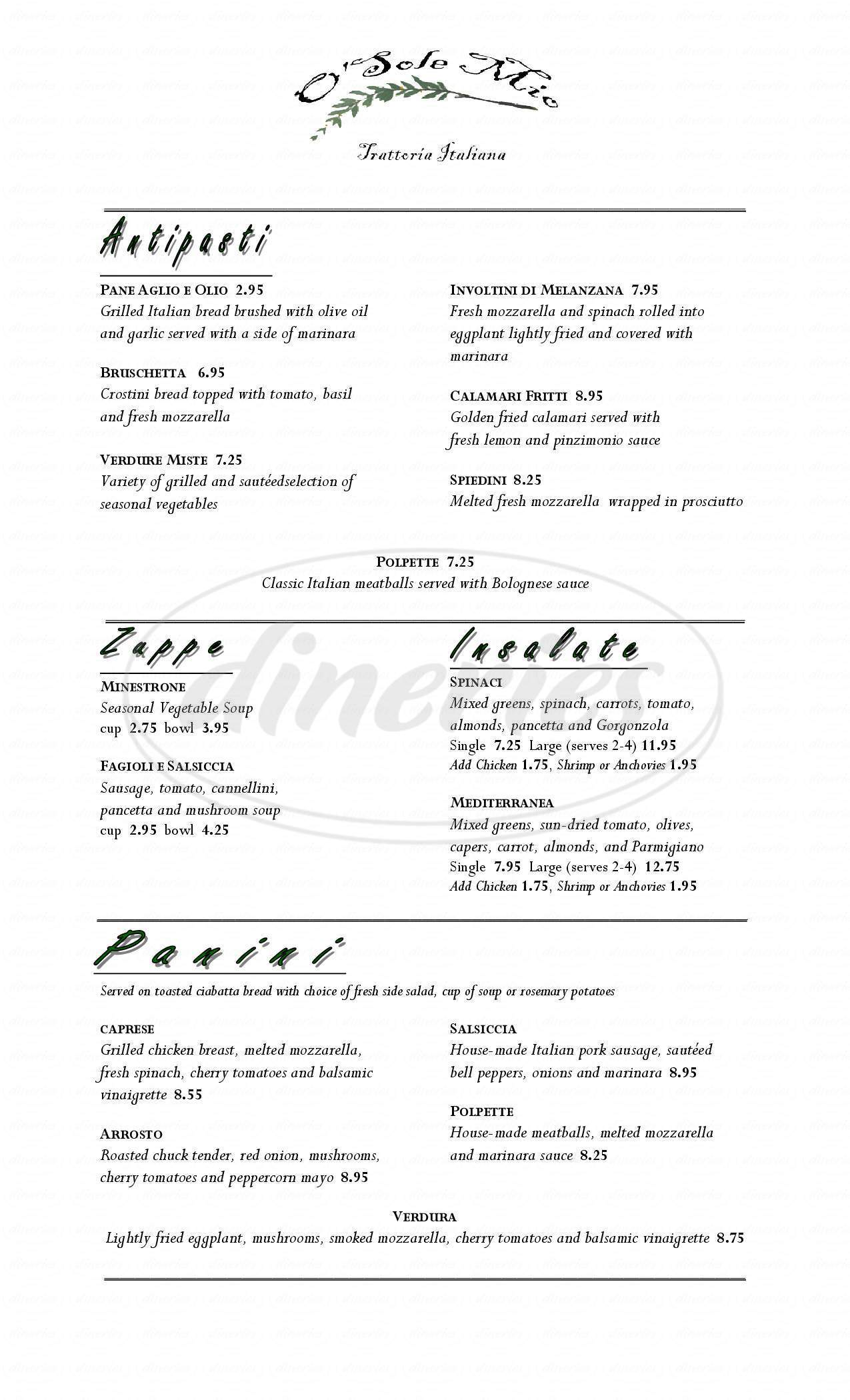 menu for O' Sole Mio