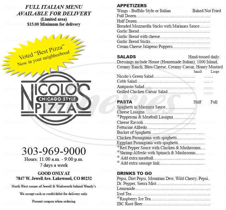 menu for Nicolo's Chicago Style Pizza