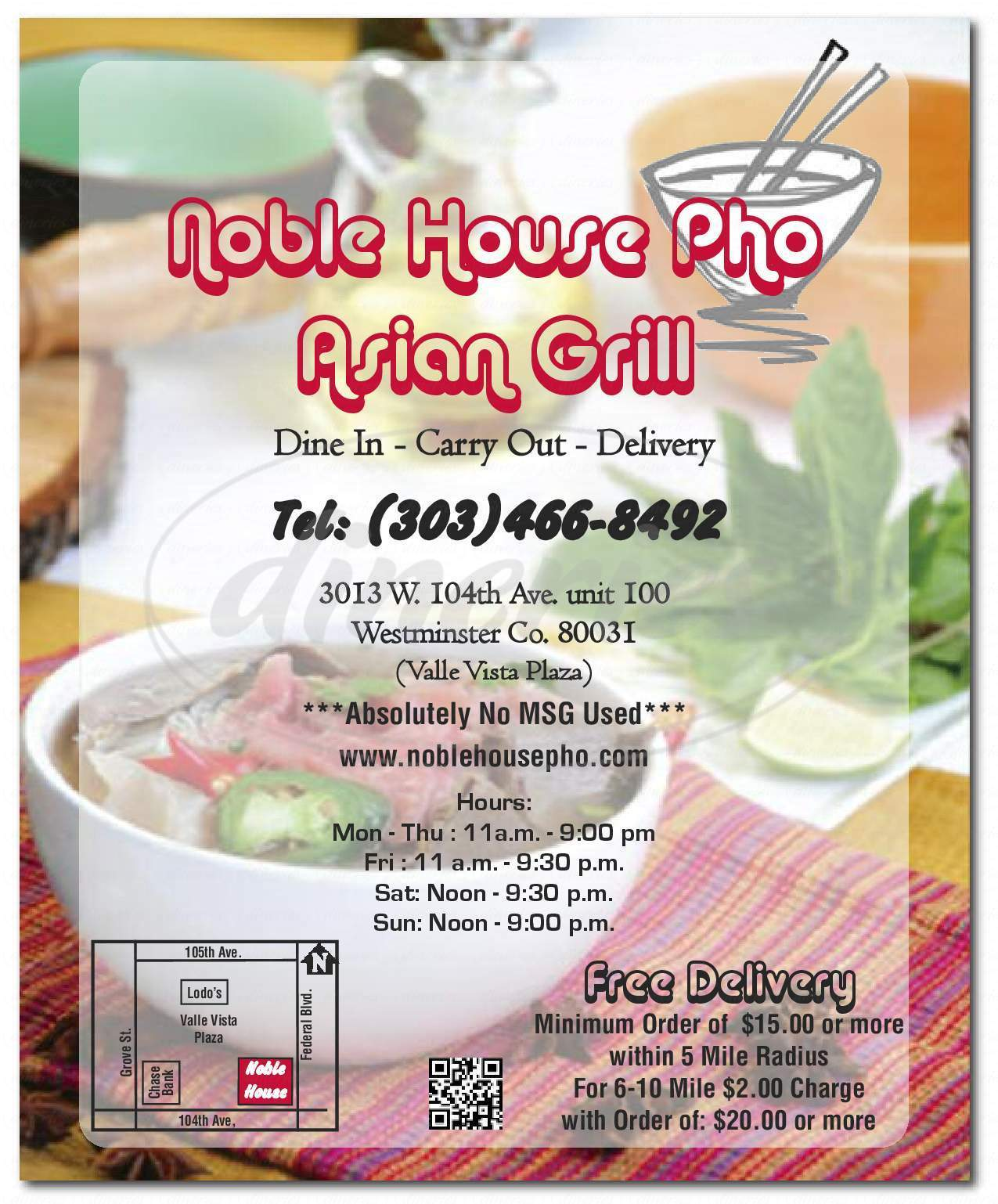 menu for Noble House Pho Asian Grill