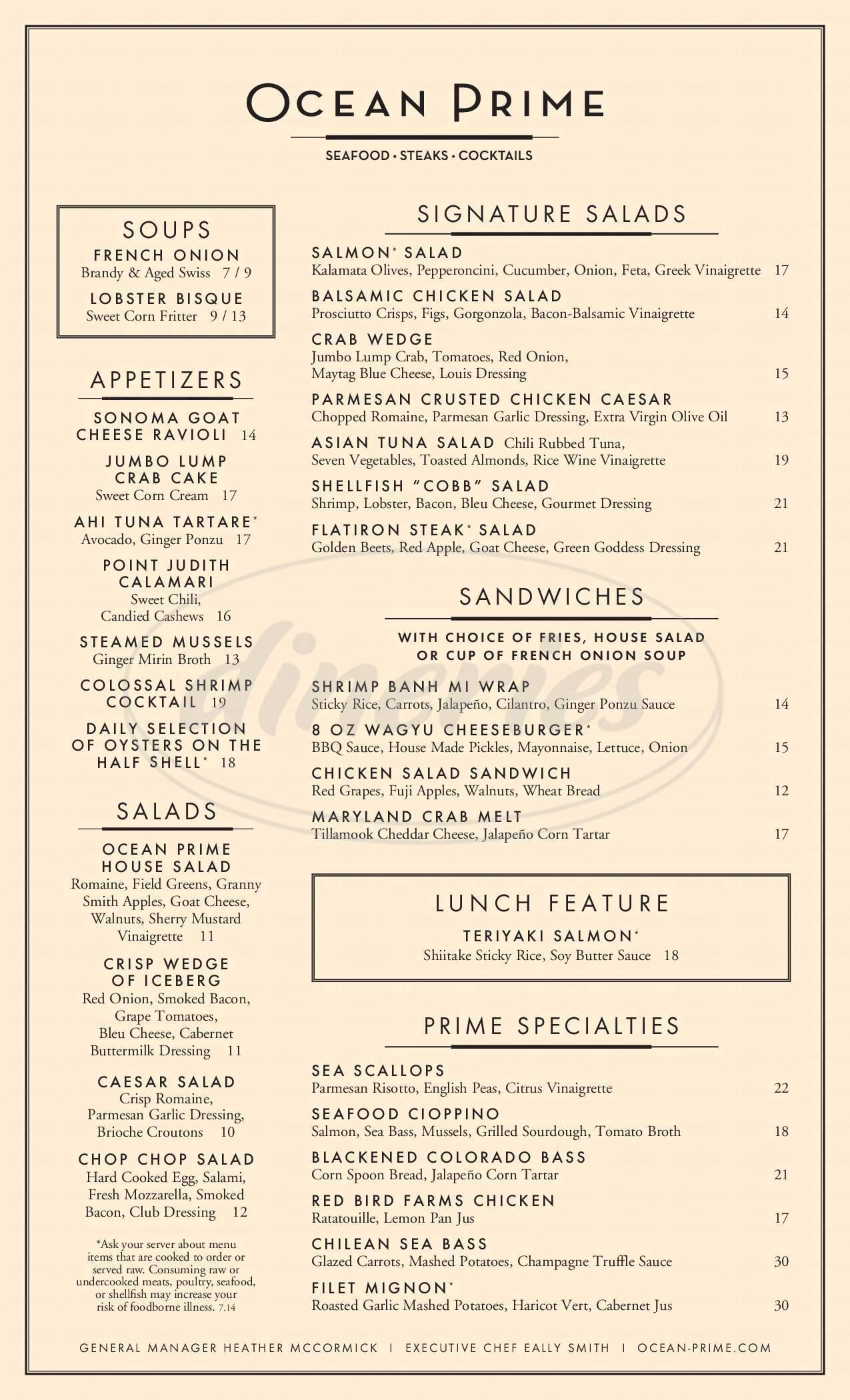 menu for Ocean Prime
