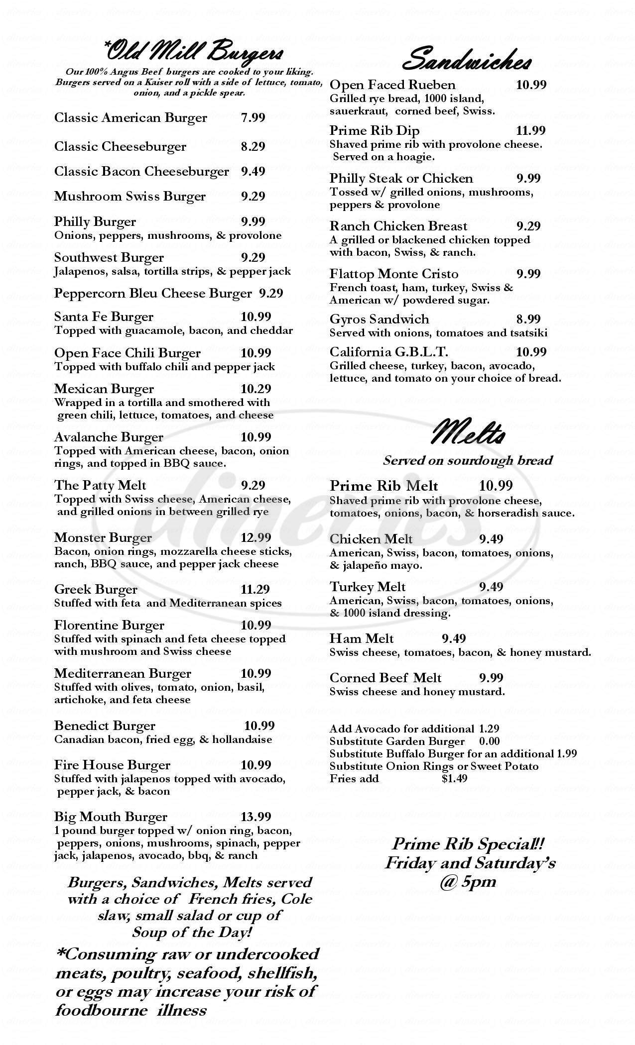 menu for Old Mill Brewery