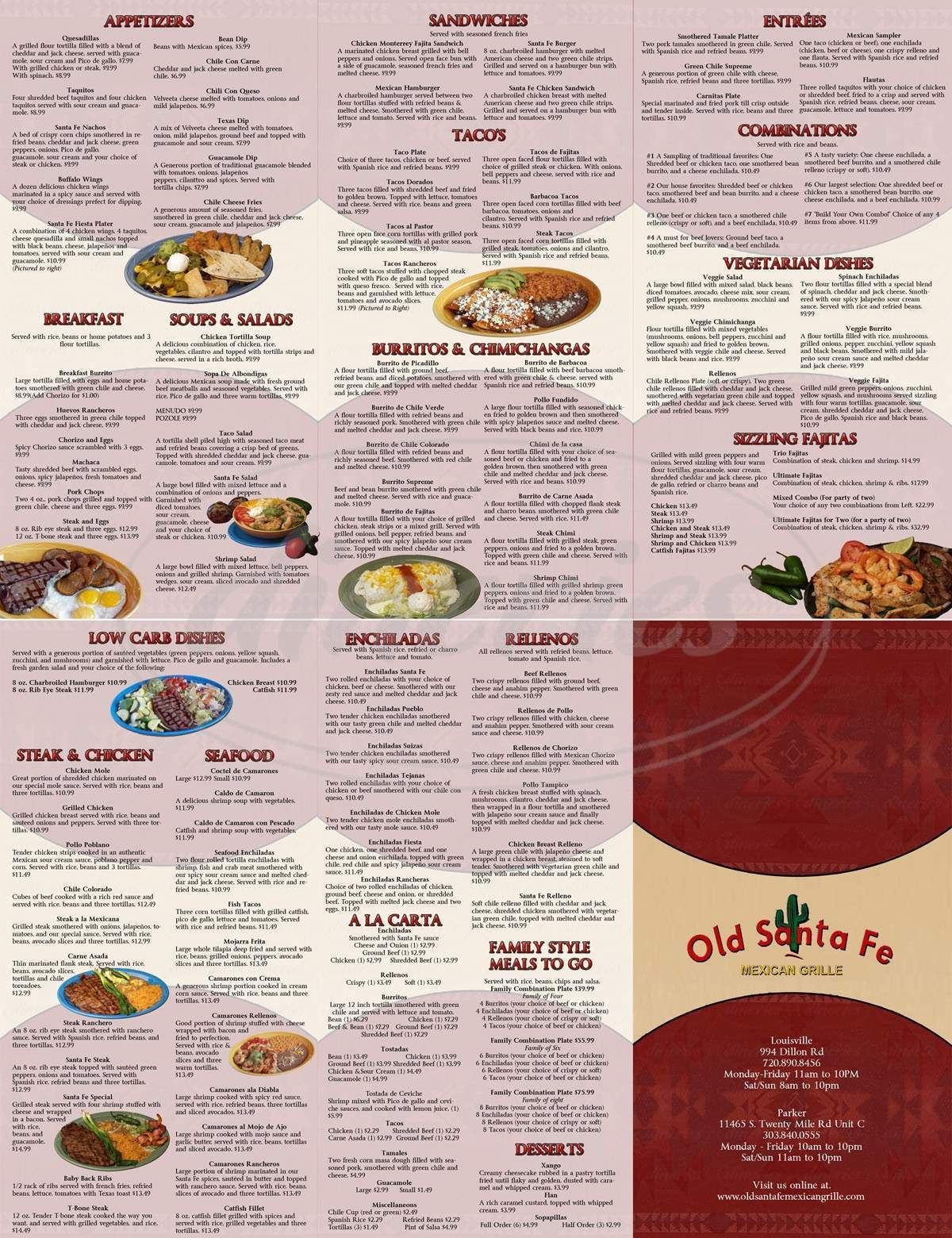 menu for Old Santa Fe Mexican Grill
