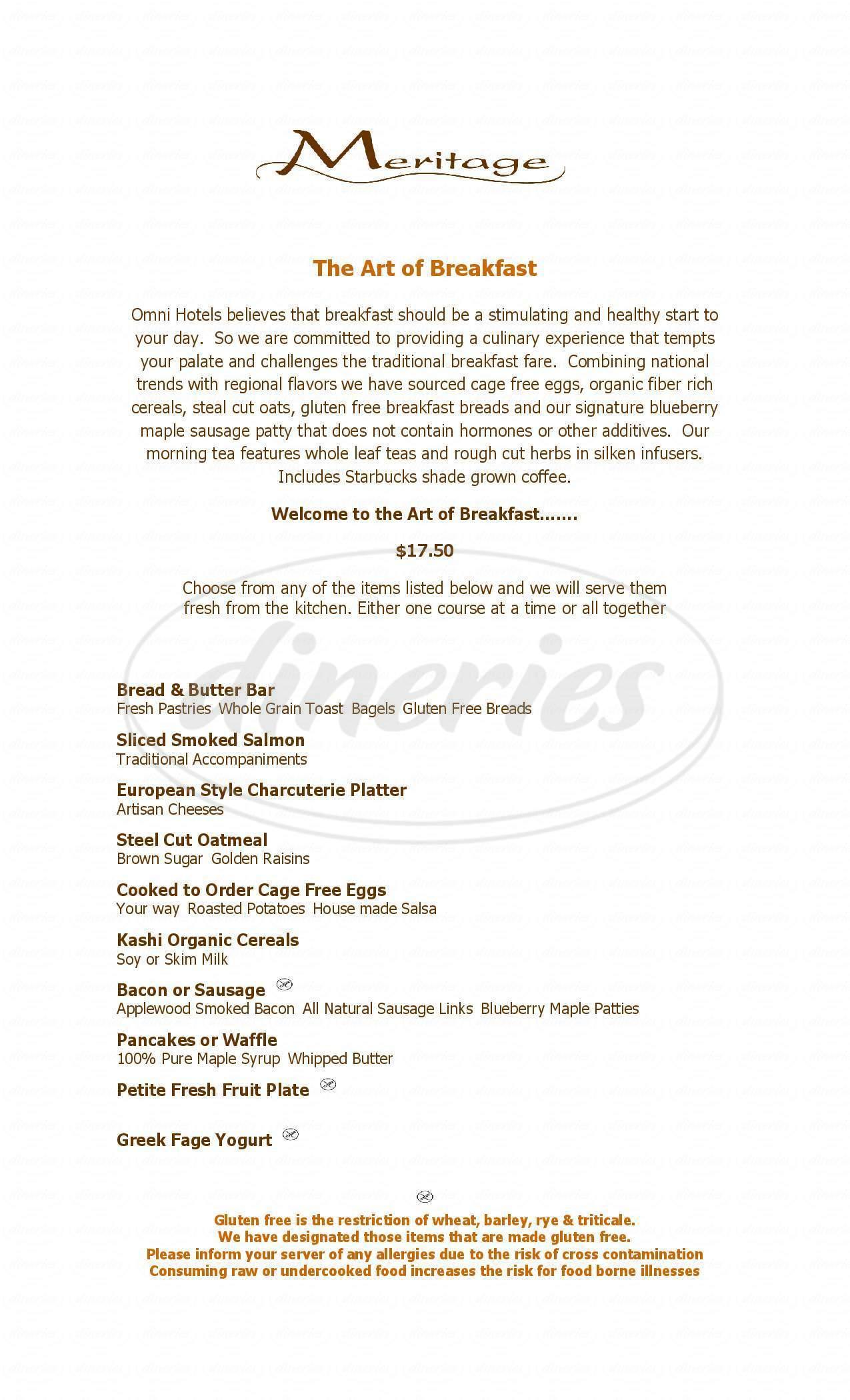 menu for Meritage