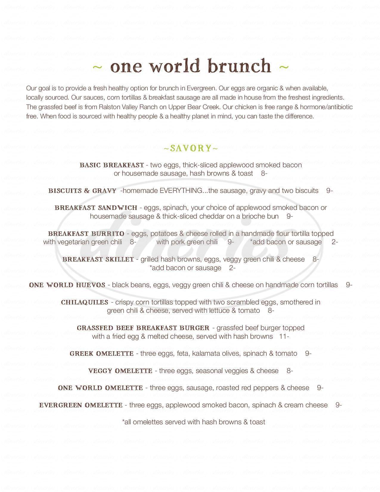 menu for One World Cafe