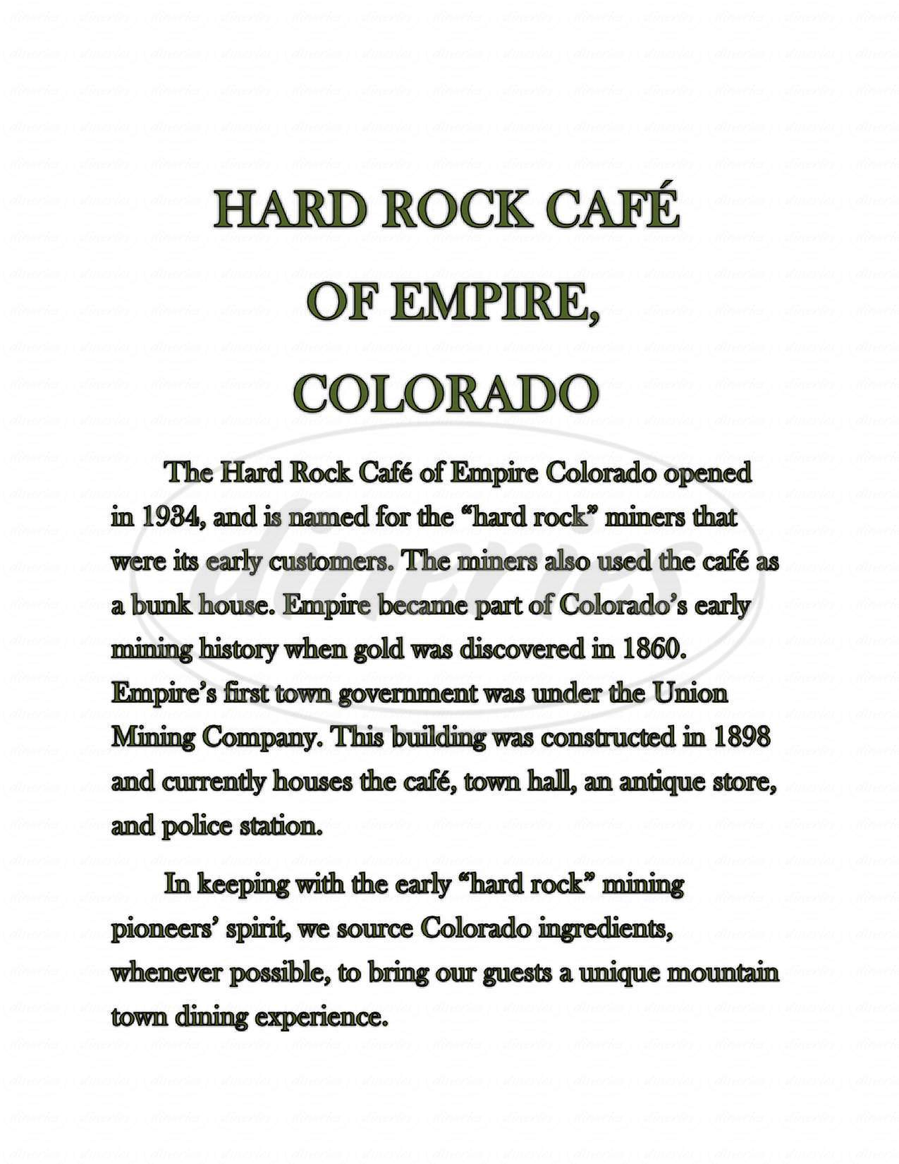 menu for Original Hard Rock Cafe of Empire