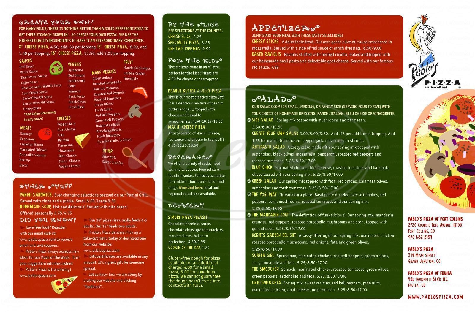 menu for Pablo's Pizza