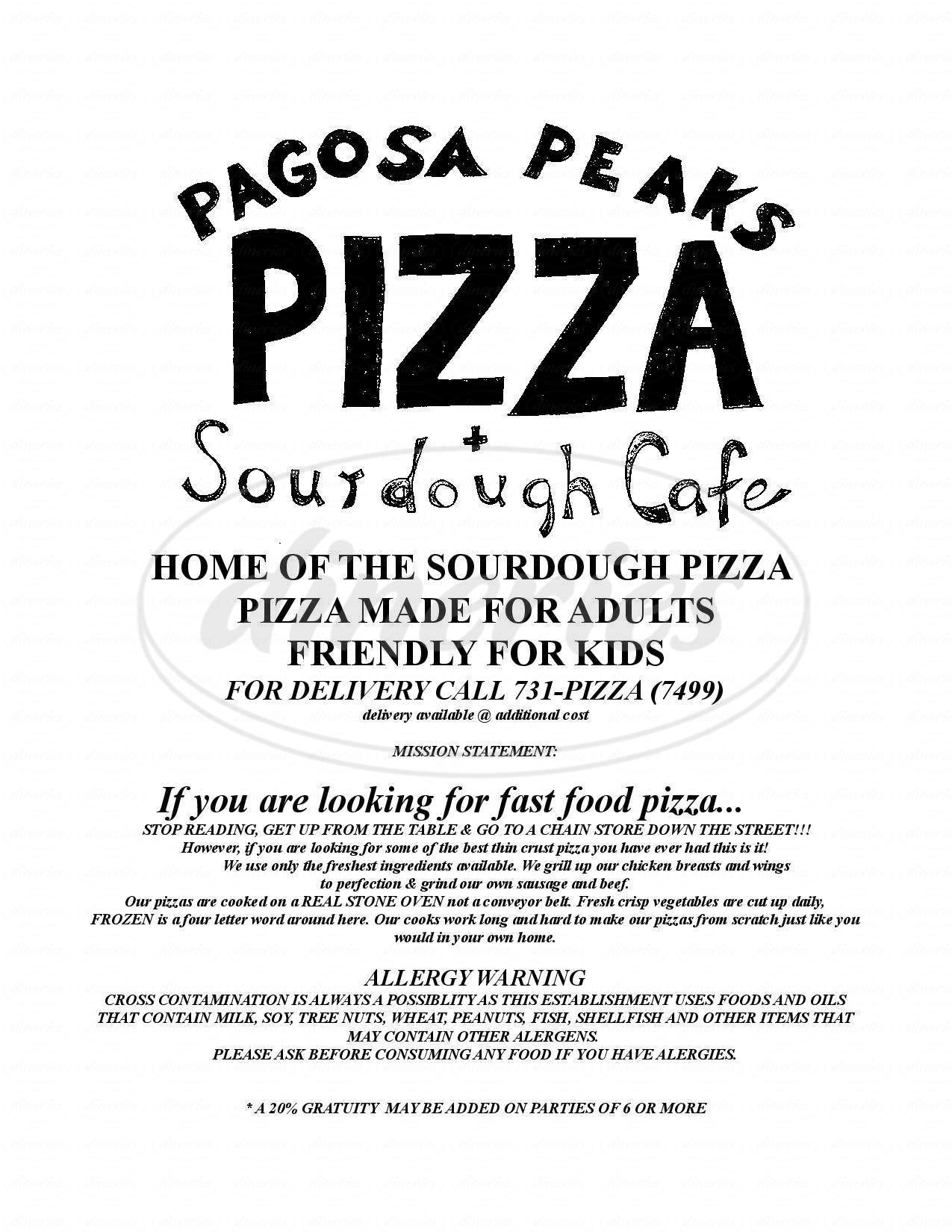 menu for Pagosa Peaks Pizza