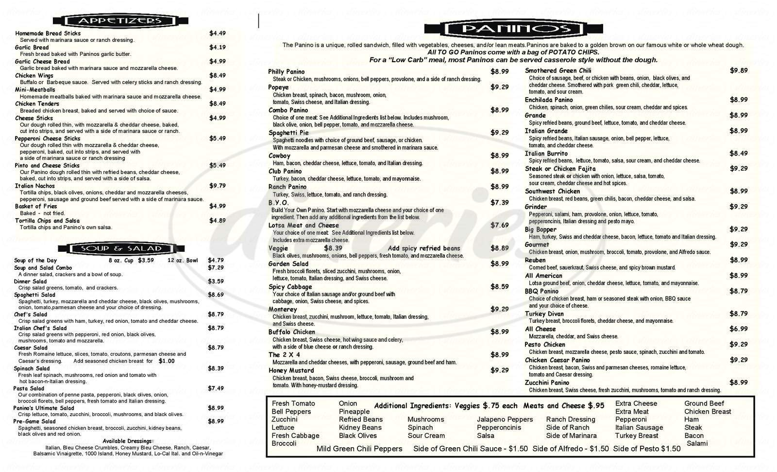 menu for Panino's