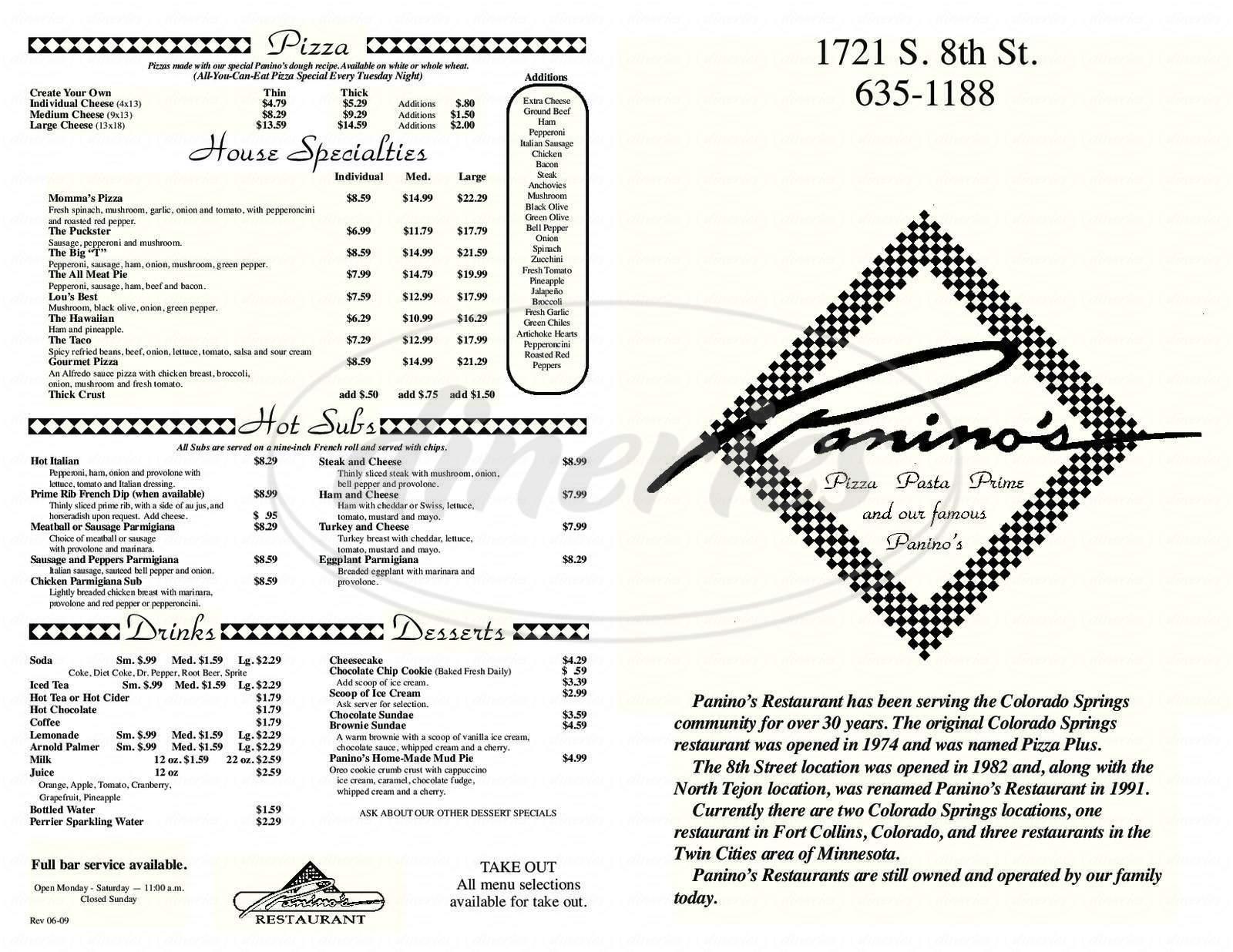 menu for Panino's Restaurant