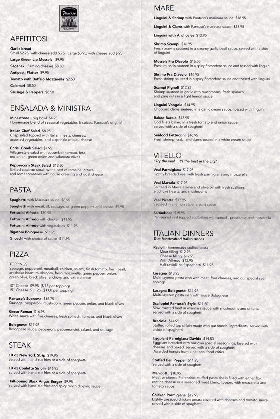 menu for Pantuso's Ristorante