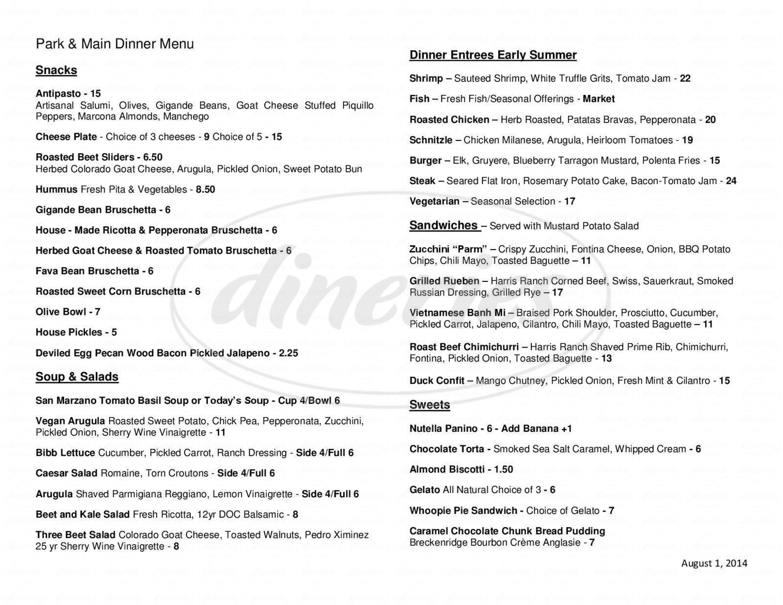 menu for Park & Main -  Quality Food