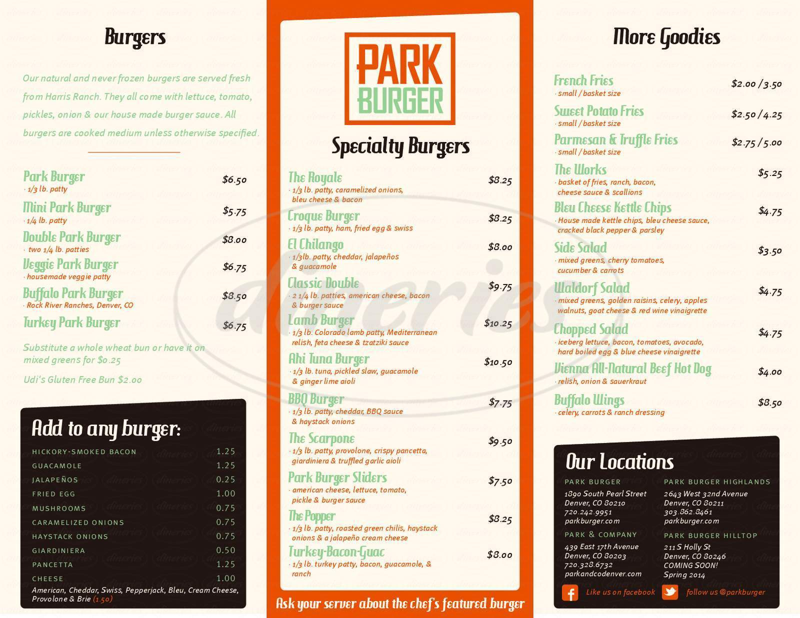 menu for Park Burger