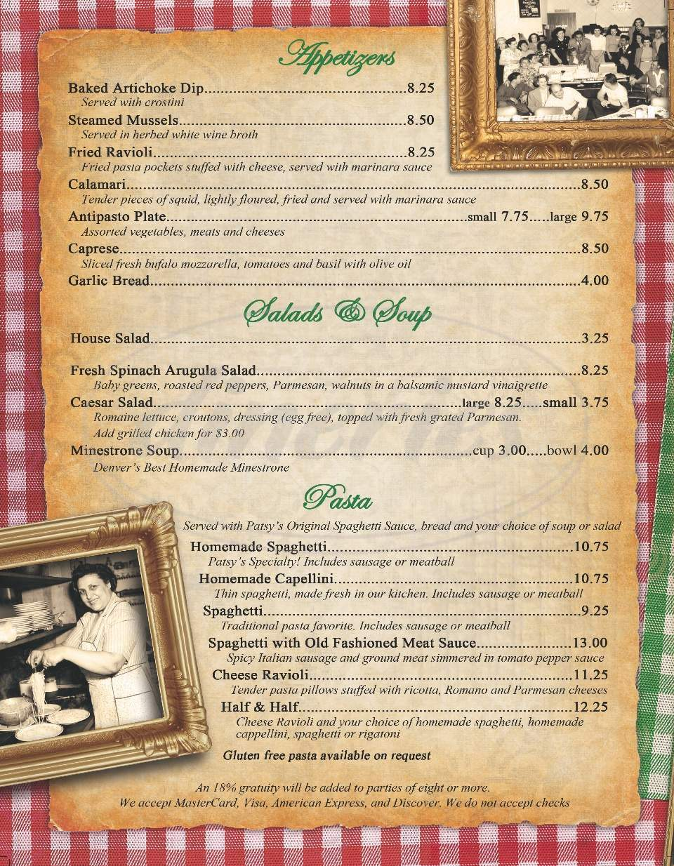 menu for Patsy's Inn Italian Restaurant