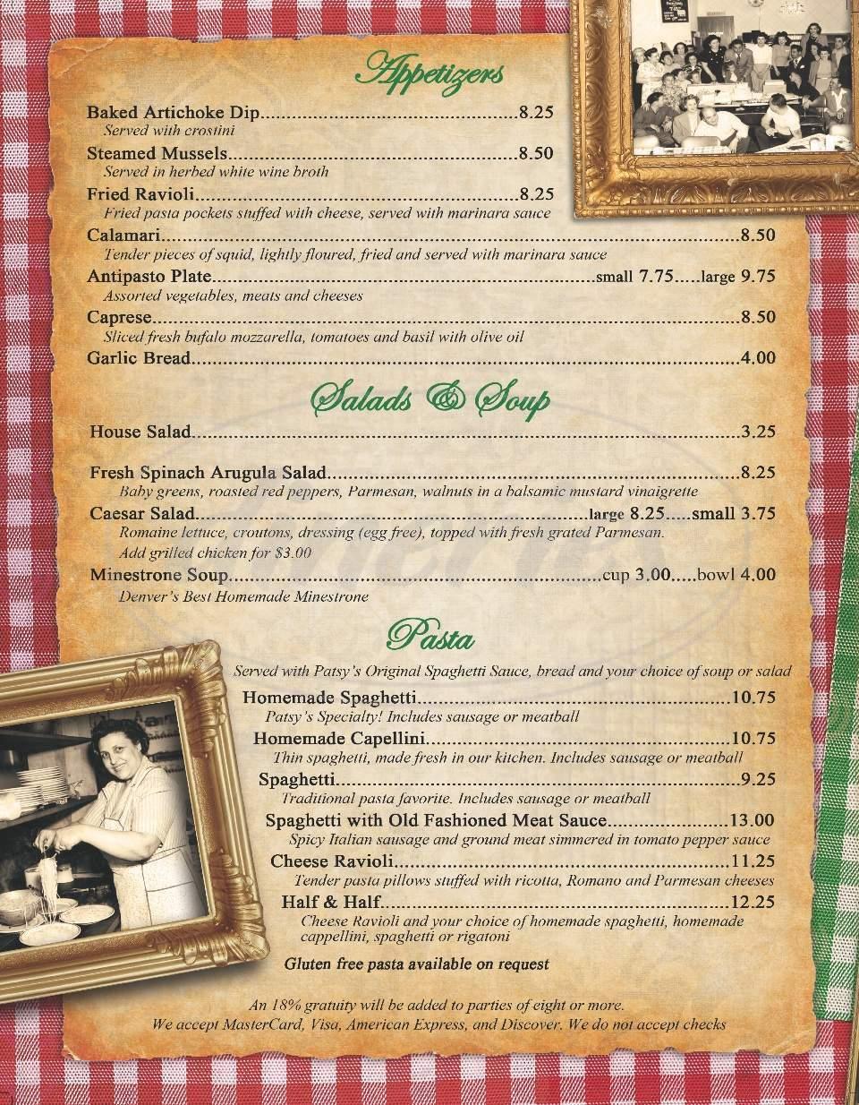 menu for Patsy's Inn Italian Restaurant