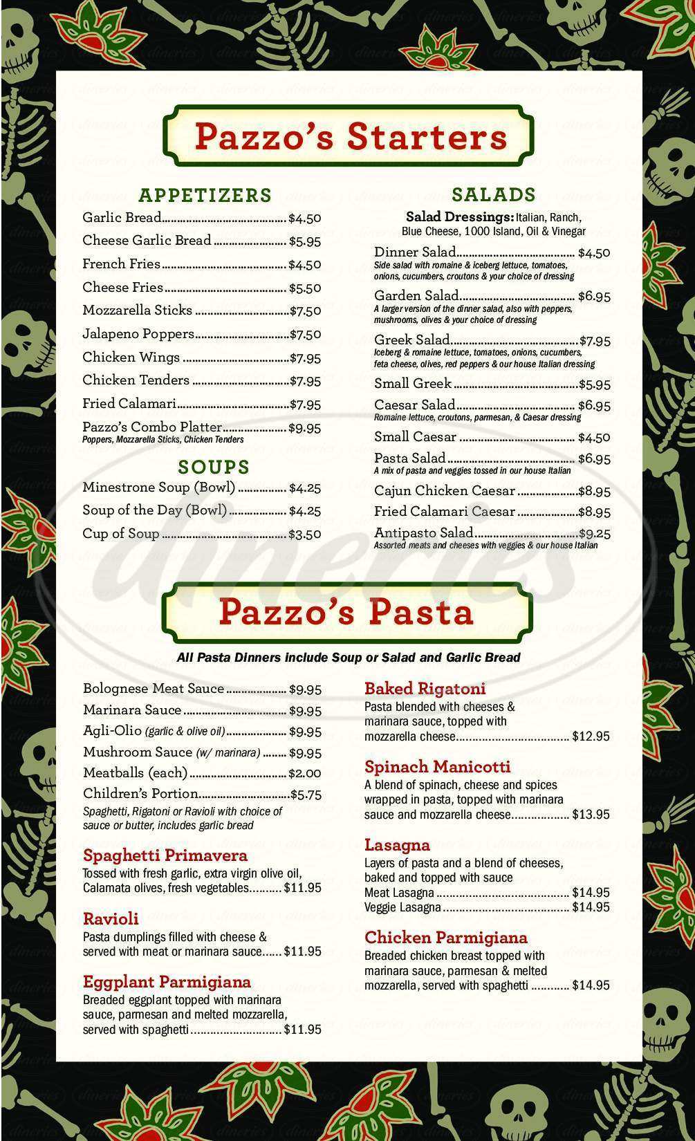 menu for Pazzo's Pizzeria