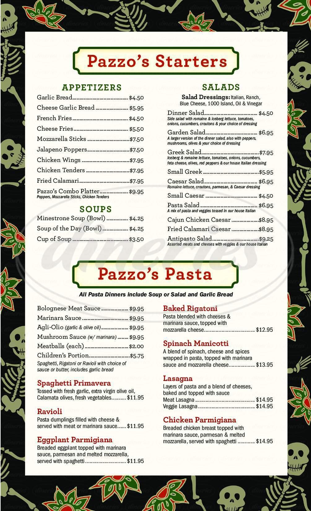 menu for Pazzo's Pizzeria