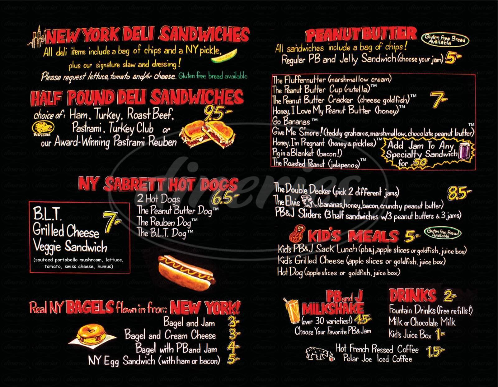 menu for PB & Jellies