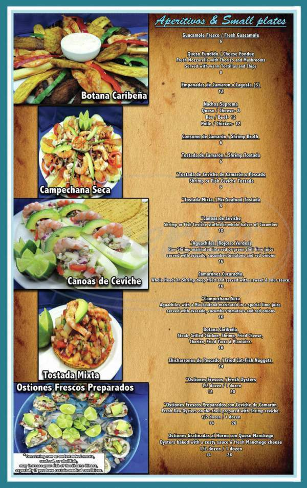 menu for El Pelicano Restaurant & Lounge