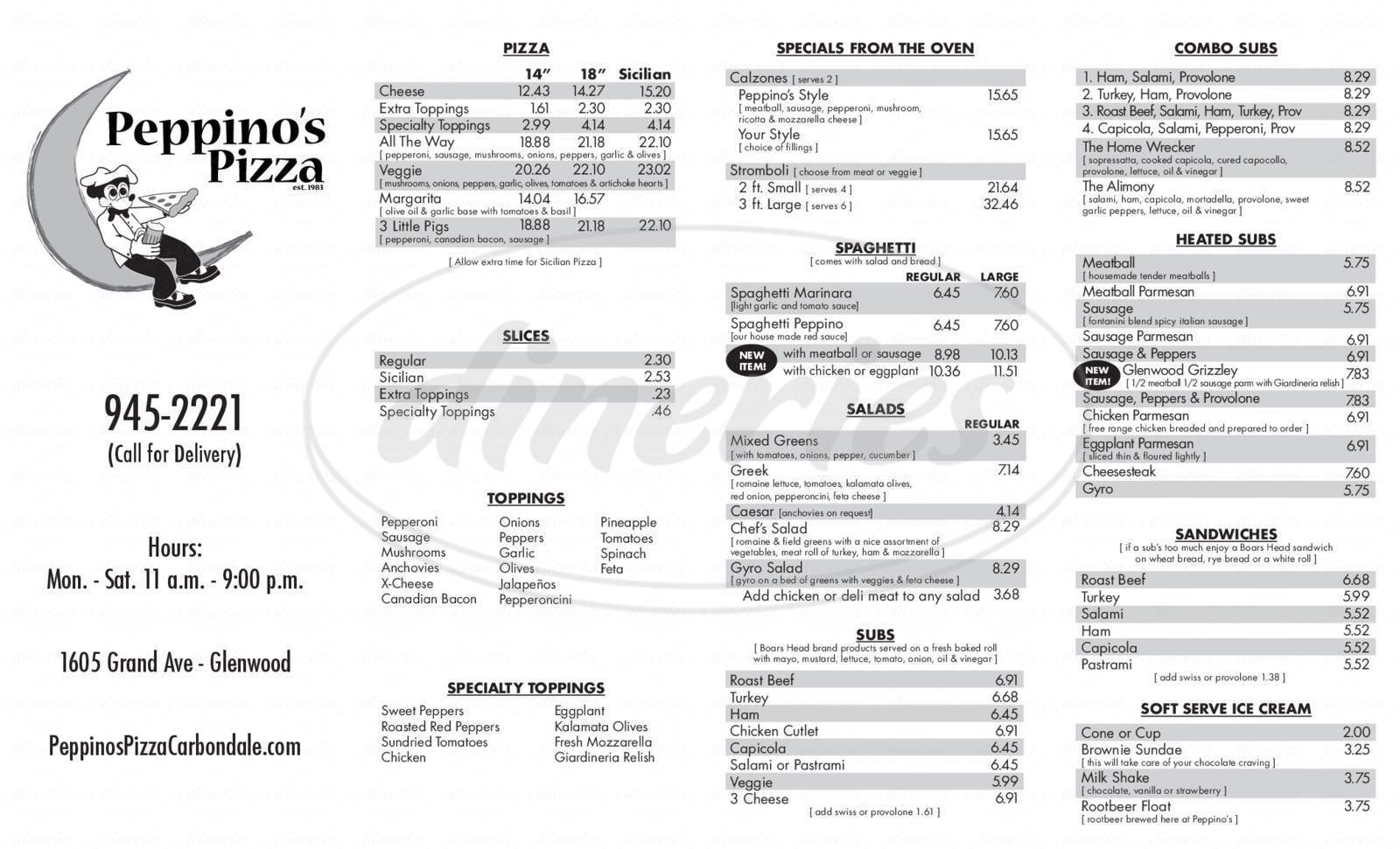 menu for Peppino's Pizza