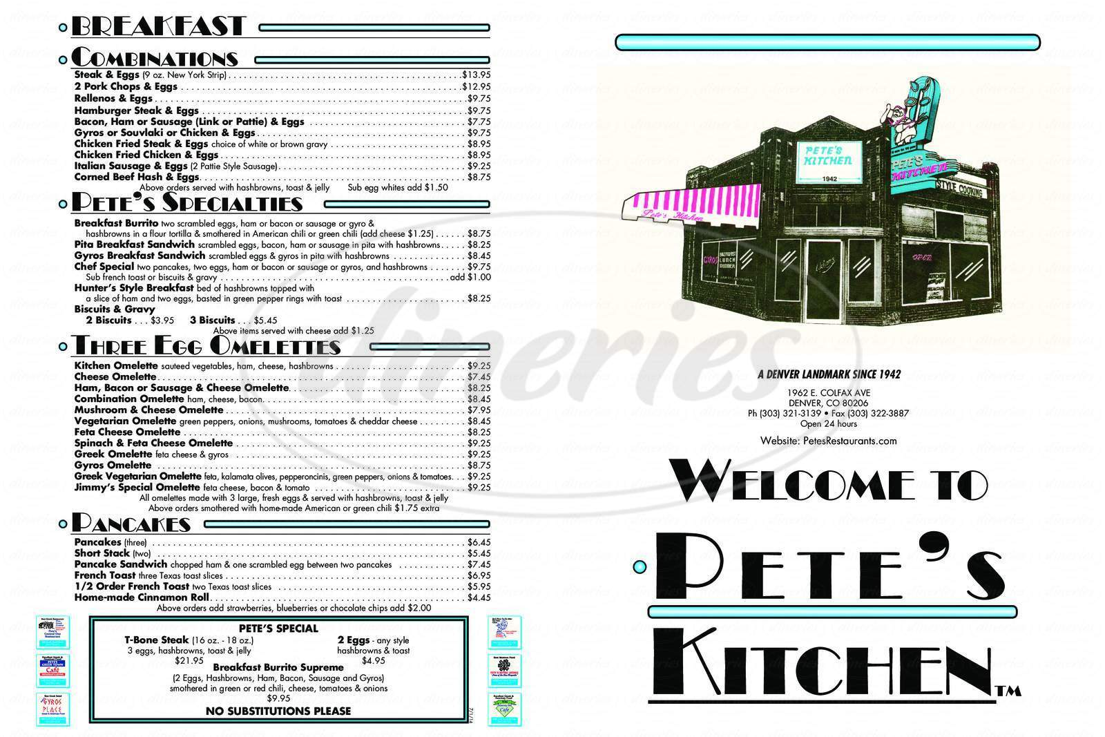 menu for Pete's Kitchen