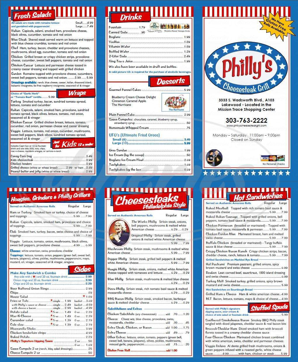 menu for Phillys Cheesesteak Grill