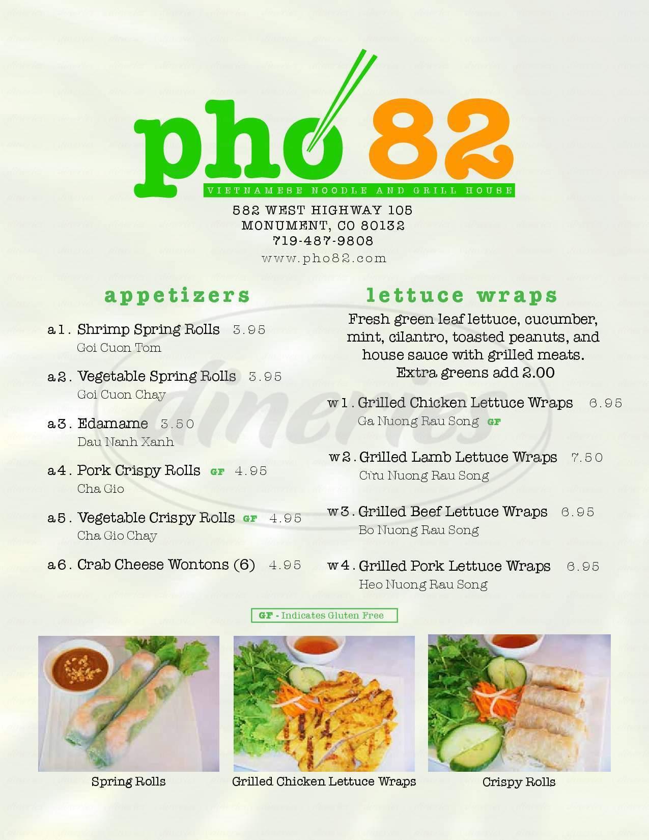 menu for Pho 82