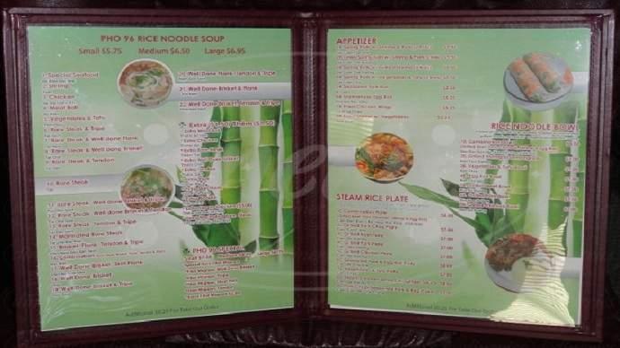 menu for Pho 96