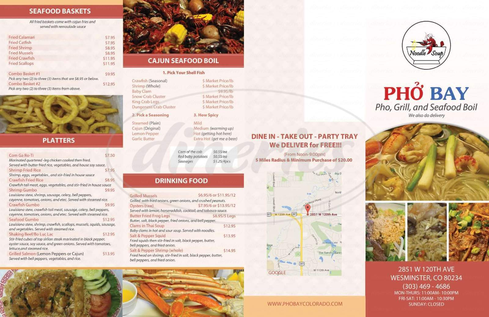 menu for Pho Bay