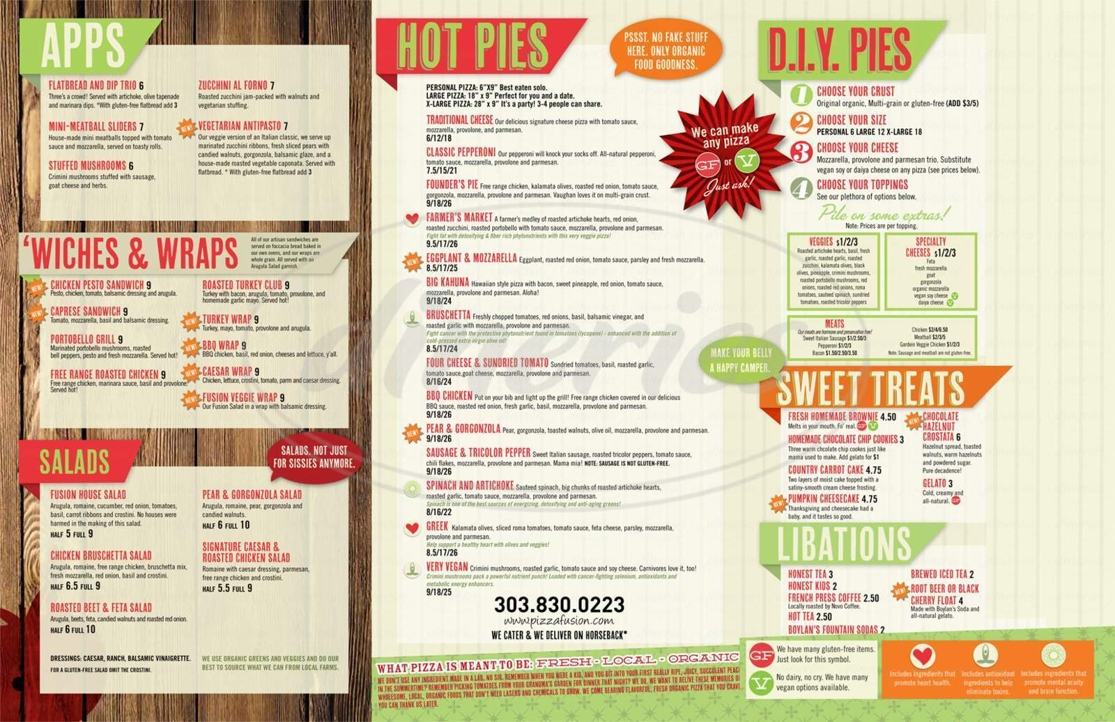 menu for Pizza Fusion