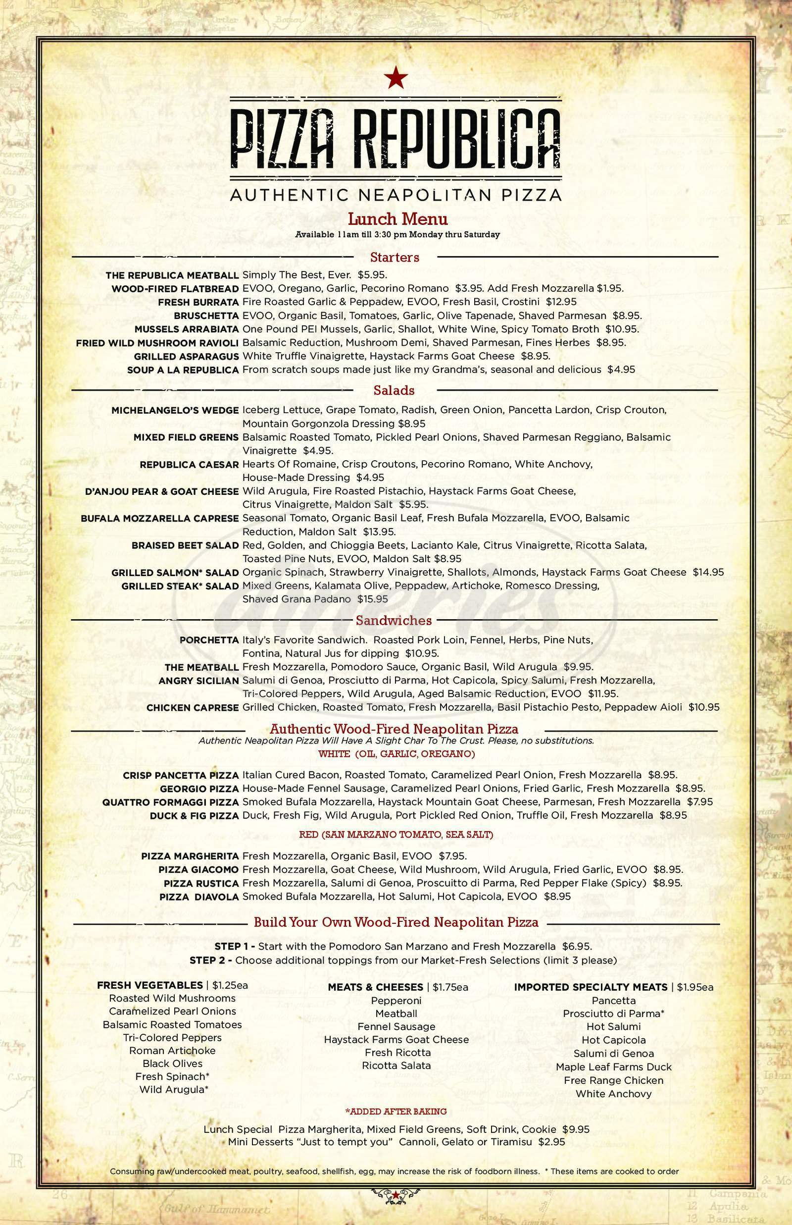 menu for Pizza Republica