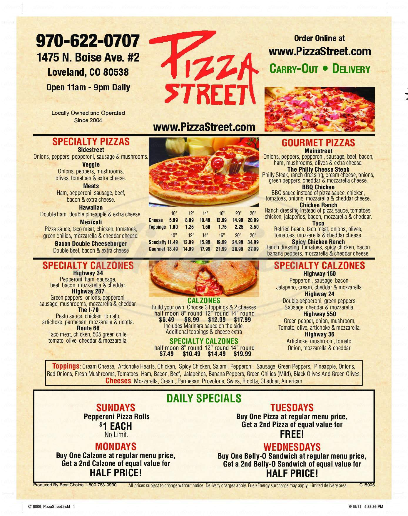 menu for Pizza Street