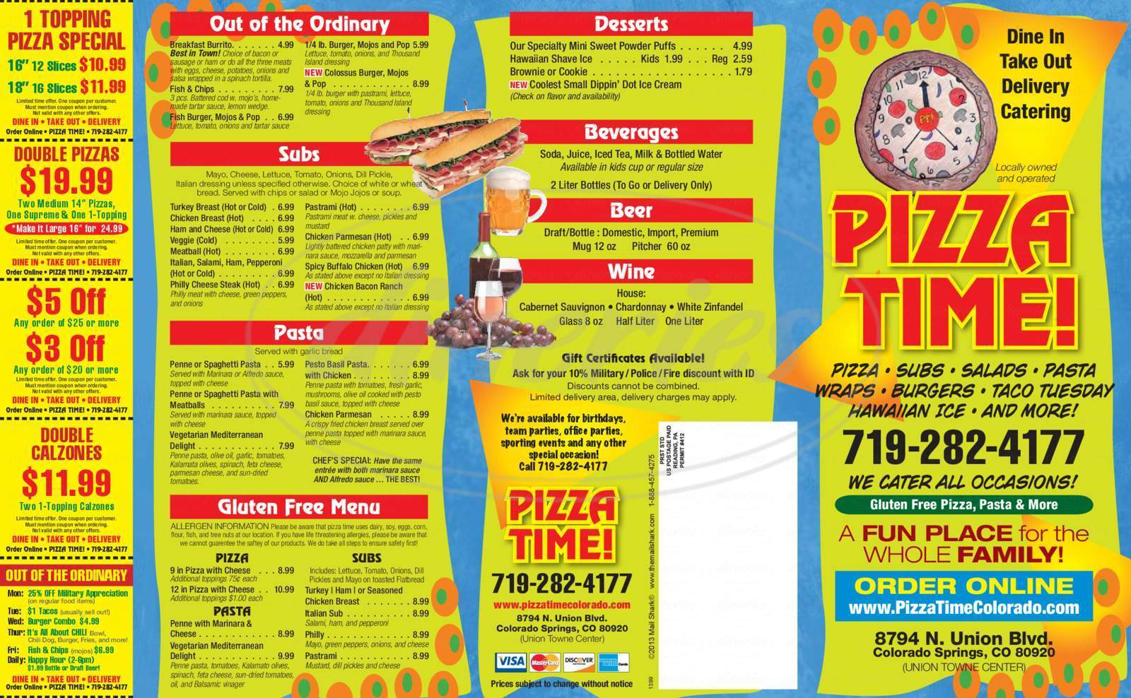 menu for Pizza Time