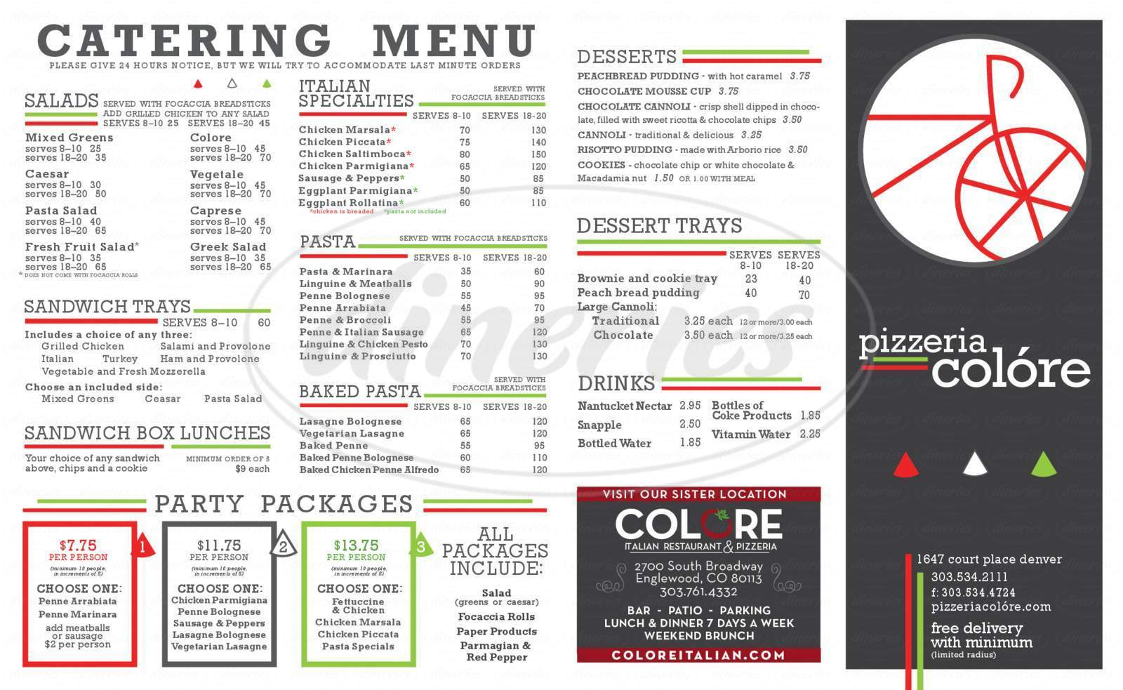 menu for Pizzeria Colore