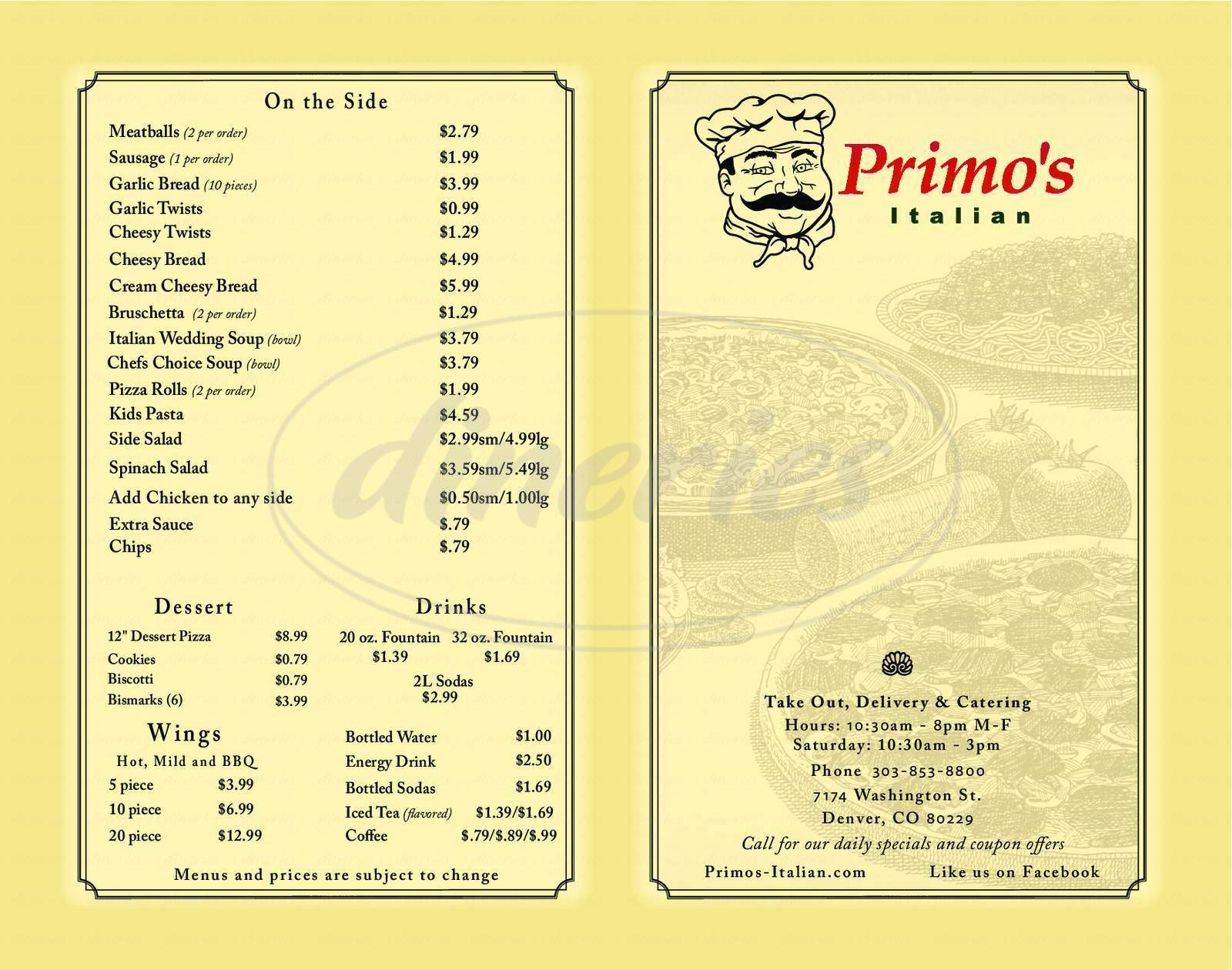 menu for Primo's