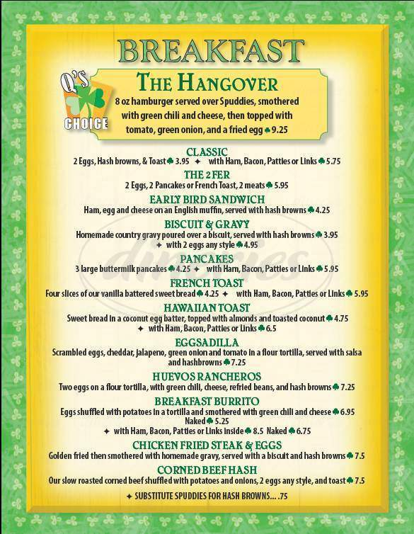 menu for Q's Pub & Grille