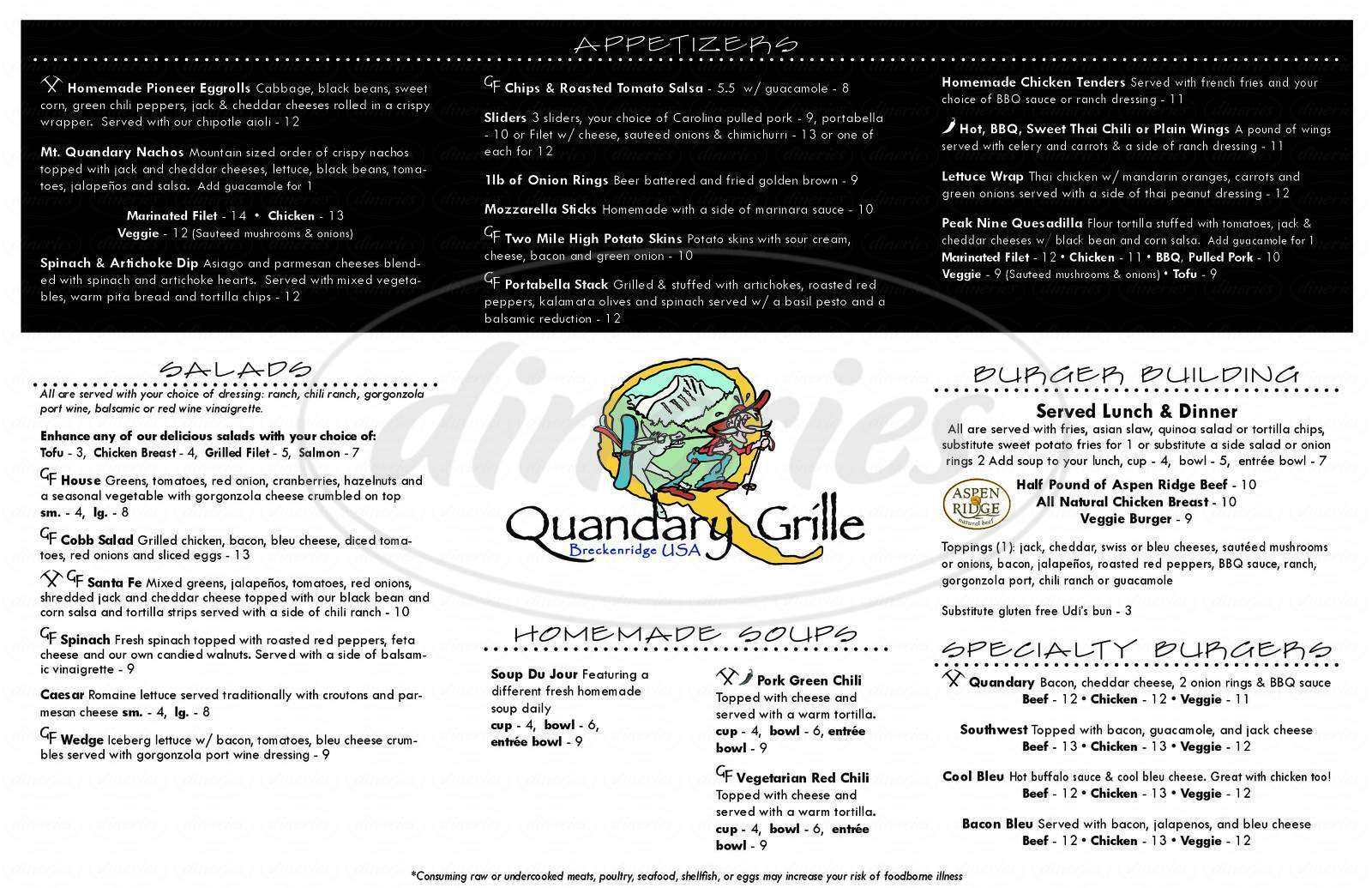 menu for Quandary Grille