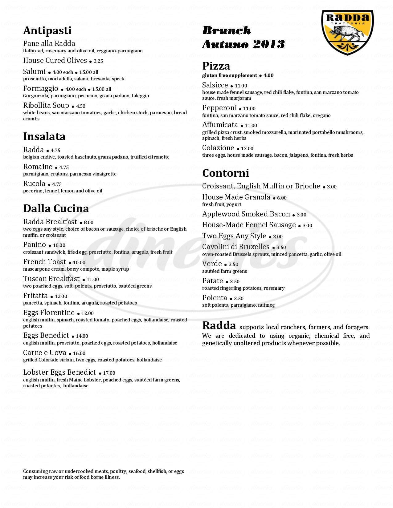 menu for Radda Trattoria