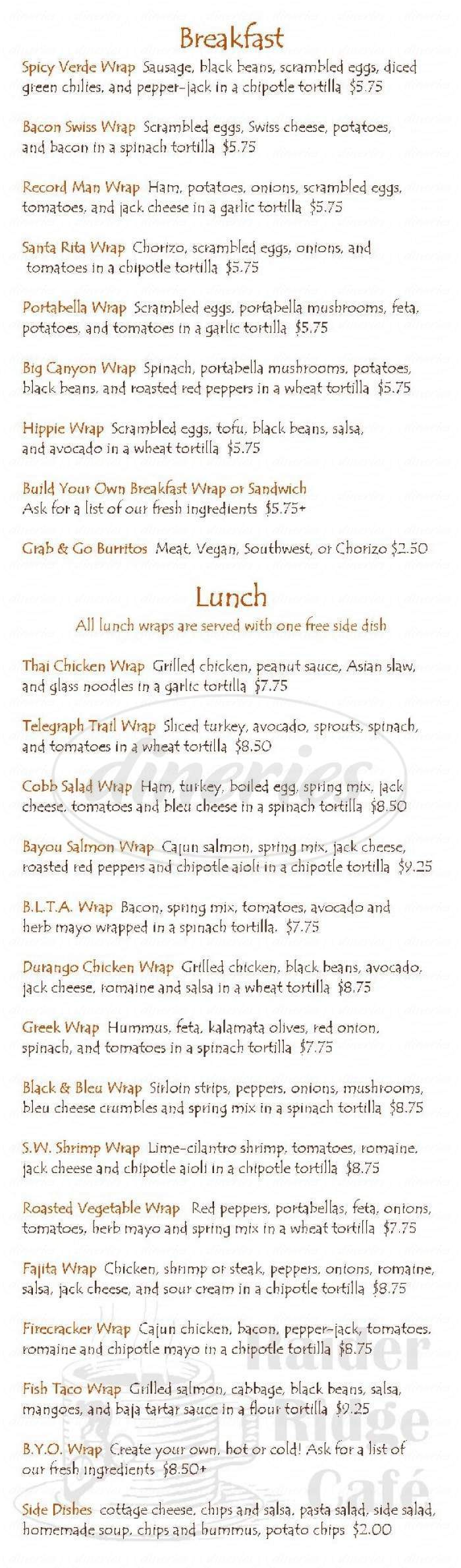 menu for Raider Ridge Cafe