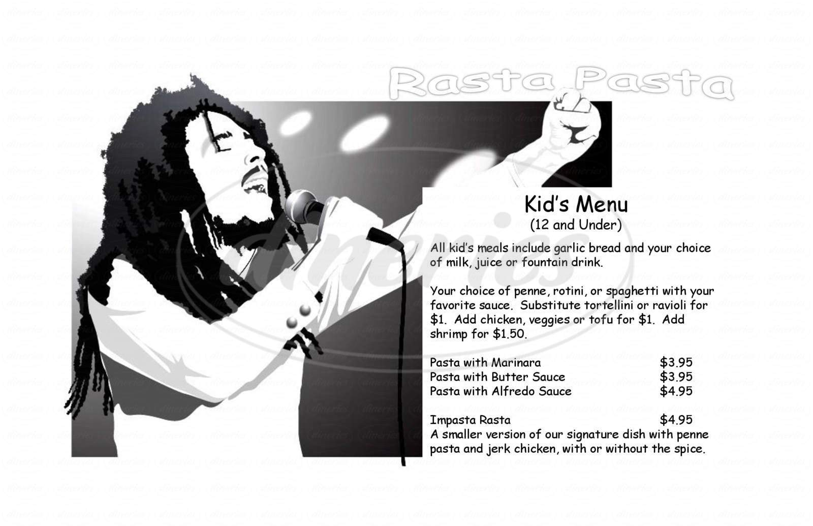 menu for Rasta Pasta