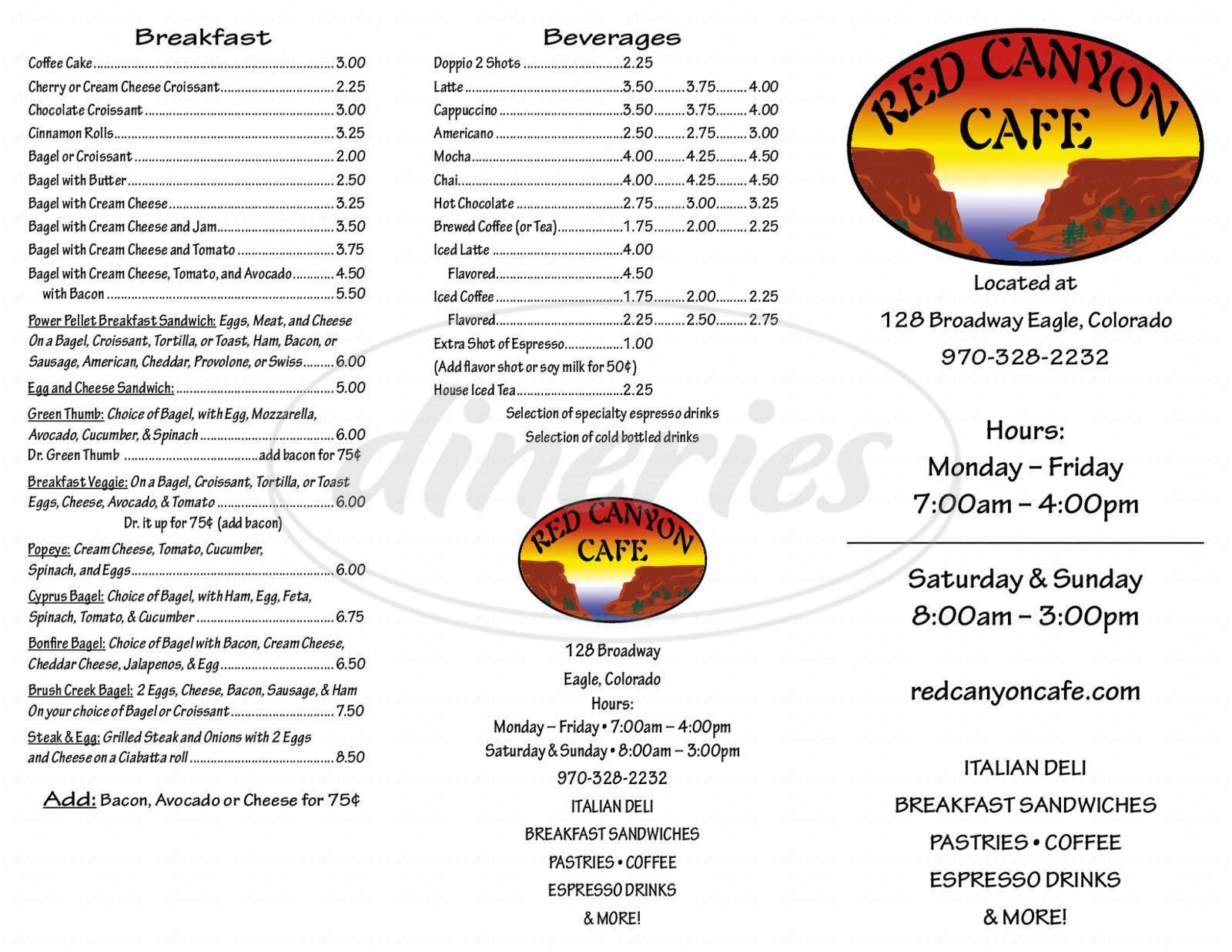 menu for Red Canyon Cafe