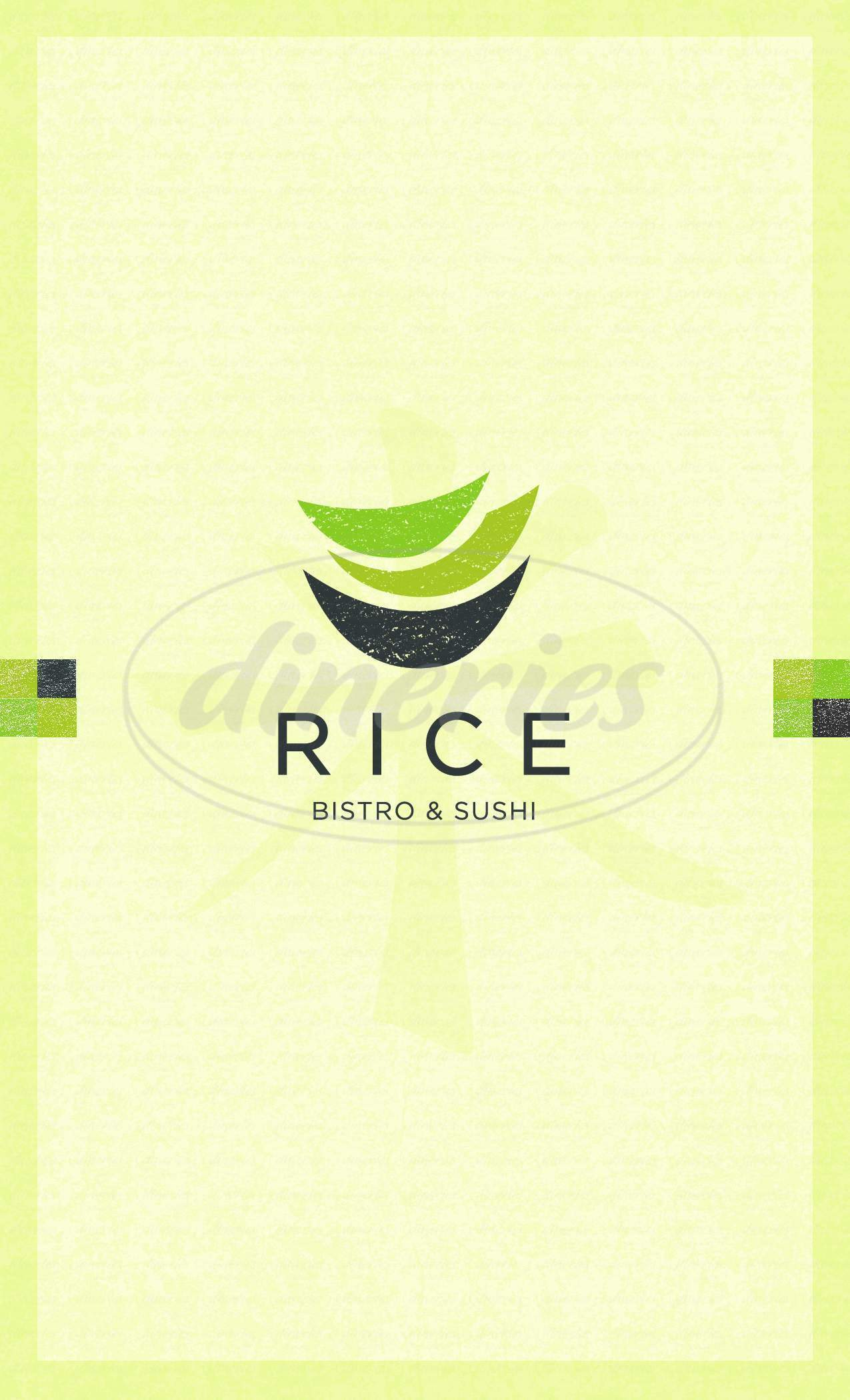 menu for Rice Bistro and Sushi